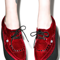 T.U.K. Velvet Eva Pointed Stacked Creepers Burgundy