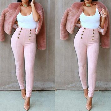 Ladies button style high waisted pants