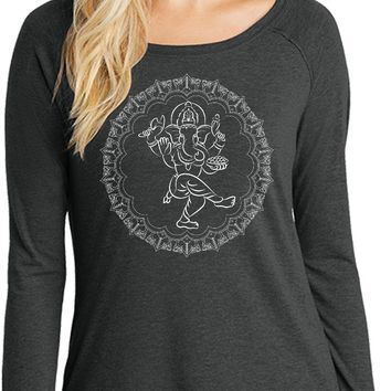 Womens Yoga T-shirt Circle Ganesha White Print Long Sleeve Tunic