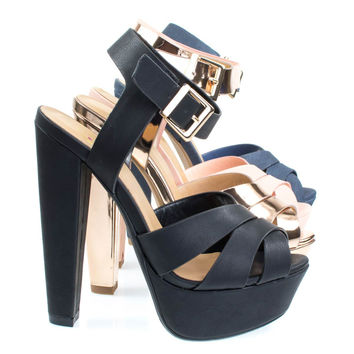 Sedona Black By Delicious, Towering High Platform Block Heel Sandal, Women's Open Toe Chunky Shoes