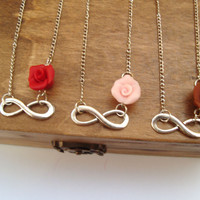 Infinity Necklace. Rose Necklace. Infinity Flower Necklace. Red, Pale Pink or Brown Rose Necklace