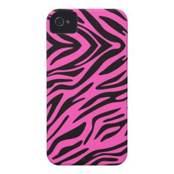 Pink Zebra Print Case-Mate iPhone 4 iPhone 4 Cases from Zazzle.com
