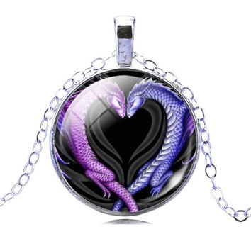 25mm Dragon Heart Glass Cabochon Pendant Necklace