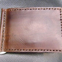 vegetable leather brown wallet money clip handmade