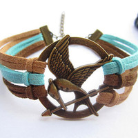 Mockingjay inspired unique Bracelet---antique bronze The hunger game style pendant & colorful rope chain