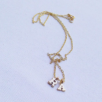 Gold Vermeil Initial Necklace - Tiny Little Initial Charm - Personalized Jewelry