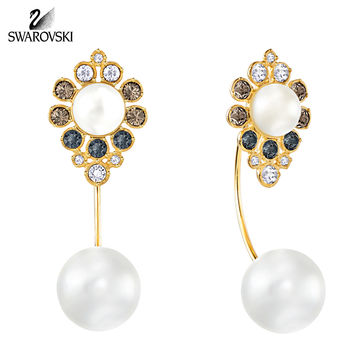 Swarovski Color Crystal Pearl Pierced Earrings EAST Gold Plated #5202165