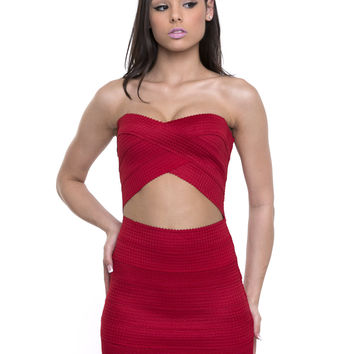 House Party Red Bandage Dress