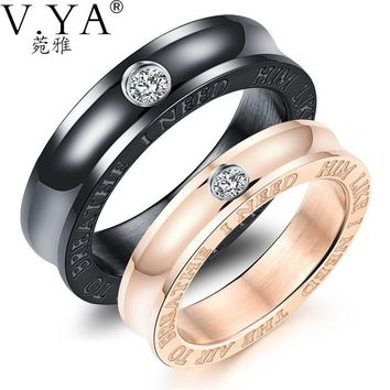 Wedding Band Black & Rose Gold Color Stainless Steel Rings With Cubic Zirconia Couple Jewelry