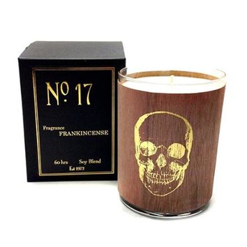 Wood Candle No. 17 Gold Skull Frankincense