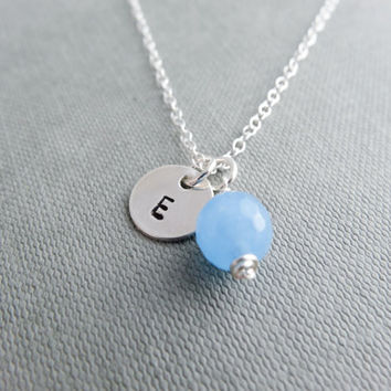 Jade initial necklace, strrling silver, blue Jade, stamped letter necklace, simple silver charm, bridesmaid necklace, pale blue