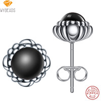 100% 925 Sterling Silver Black Birthday Blooms Stud Earrings For Women Female Wedding Fashion Earring Original Jewelry Making