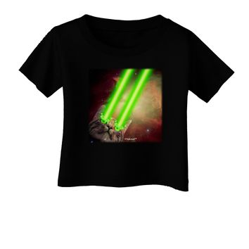 Laser Eyes Cat in Space Design Infant T-Shirt Dark by TooLoud