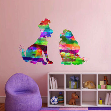 kcik2144 Full Color Wall decal Watercolor Character Disney Lady and the Tramp children's room Sticker Disney