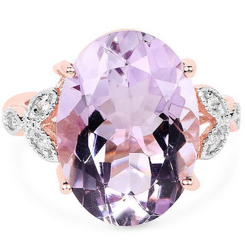 A Natural 10.50CT Oval Cut Rose de France Pink Amethyst And White Topaz 18K Rose Gold Ring