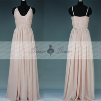 High Slit Prom Dress 2016,Custom Peach Bridesmaid Dresses,Elegant Floor Length Dress Spaghetti Straps,Sexy Chiffon Long Prom Dress