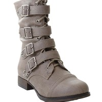 Rocker Chic Studded Buckle Lace-up Biker Bootie