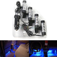 4x 3LED Car Charge 12V Glow Interior Decorative 4in1 Atmosphere Light Lamp Blue = 5987586177