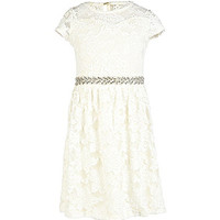 Monteau Girl 7-16 Crocheted-Lace-Overlay Dress - Ivory