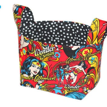 NEW Fabric Storage Bin | Wonder Woman | Girls Room Storage | Storage Bin | Room Organizer | Desk Organizer