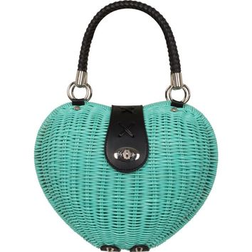 Voodoo Vixen Mint Green Heart Wicker Handbag