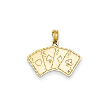 14k Yellow Gold Four of a Kind Aces Playing Cards Pendant