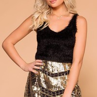 Luxe Black Fuzzy Tank Top
