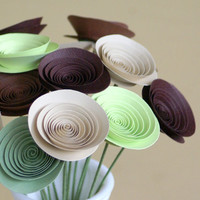 Mini Paper Flowers in Coffee Browns and Greens by FlowerThyme