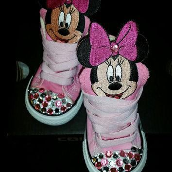 Pink Minnie Mouse Custom Converse: Pictured is a size 4