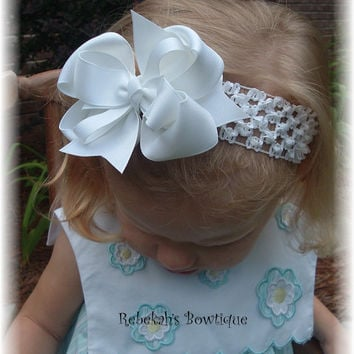 White Hair Bow Headband Hairbow Infant Toddler Girls Baby Summer Wedding Portrait Pageant Bows Clip Clips
