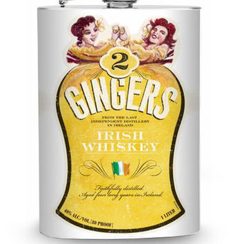 2 Gingers Whiskey Vintage Liquor Label Stainless Steel 8oz Hip Flask Irish Flag Two Twins