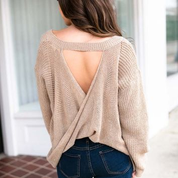 My Better Half Open Back Sweater in Beige