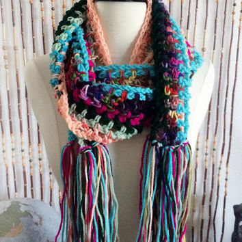 FREE SHIPPING - Crochet, Hippie, Scrap, Fringe, Extra Long, Scarf - Multi, Rainbow, Blue, Peach, Green, Pink, Purple, etc.