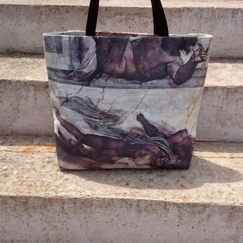 Tote bag, beach bag or trendy handbag, Michelangelo painting printed, casual chic luxury bags, handmade, made in France. Women bags.