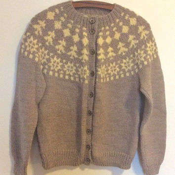 Hand knit handmade vintage Fair Isle Icelandic style cardigan sweater, jumper, women's, Christmas Gift, Washable, Neutral colours