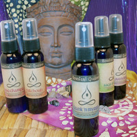 MEDITATION MISTS Set of 5 Spray Incense Body & Room Sprays - Create Sacred Space To Meditate