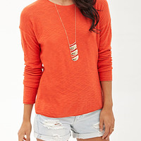 LOVE 21 Slub Knit Crew Neck Sweater