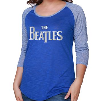 The Beatles Embellished Logo - Womens Blue Raglan T-Shirt