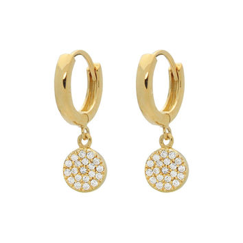 Silver Gold Plated Huggies Earrings with 8mm Disc Hanging Pave Cz