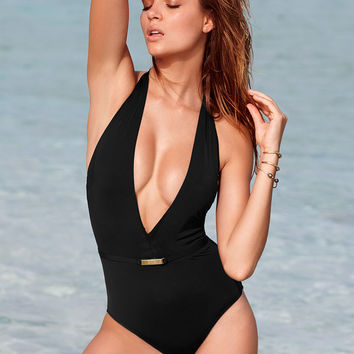 cc0e3dc855 Belted Plunge One-Piece - Secret by Victoria s Secret Swim - Victoria s  Secret