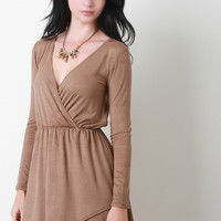 Faux Suede Long Sleeve Surplice Skater Dress