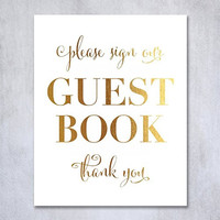 Guest Book Gold Foil Poster Sign Art Print Wedding Reception Seating Signage Bridal Shower Brunch & Bubbly Poster Decor 8 inches x 10 inches