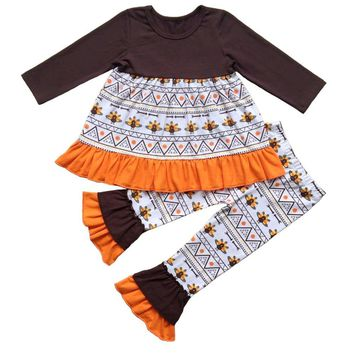 Girl's Thanksgiving Ruffle Outfits Boutique Turkey Pumpkin Halloween ruffle pants outfit girls holiday trick or treat sets
