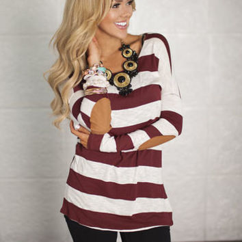 Large Stripes and Suede Elbow Patch Top Burgundy