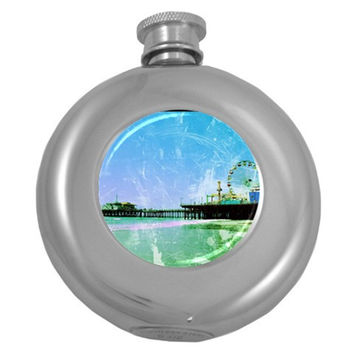 Blue Santa Monica Pier Hip Flask (Round)