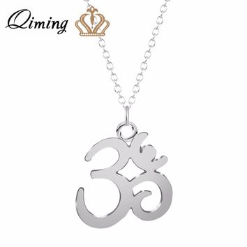 QIMING Silver Om Necklace Yoga Charm For Ladies Women Best Friend Necklace Fashion Meditation Vintage Jewelry Collier Femme