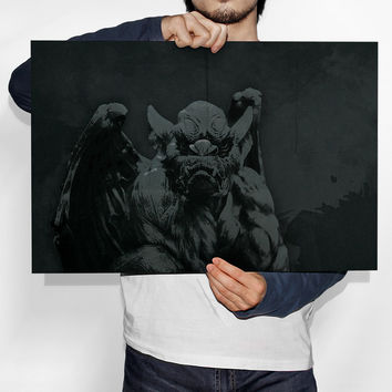 Gothic Gargoyle Retro Portrait Illustration Art Print Vintage Giclee on Cotton Canvas and Paper Canvas Poster Wall Decor