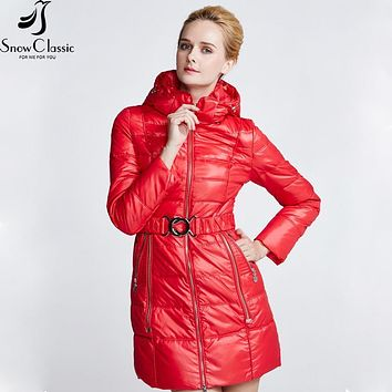 SnowClassic Woman Winter Jackets Sashes Hooded parkas Winter Coats Parka female Quilted Coat fashion women hot sale 2017