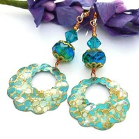 Turquoise Capri Brass Scallop Handmade Earrings Czech Glass Swarovski
