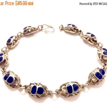 Sterling Silver & Lapis Scarab Bracelet, Raised Scarab Links, Inlayed Lapis, Stacking, Back Metal Work Is Scarab with Solar Orb, Vintage